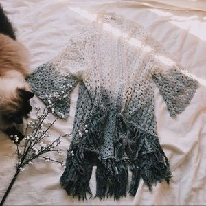 Cream/Grey Ombré Knit Cardigan